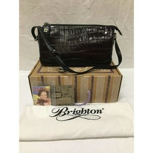BRIGHTON Blk/Brown Leather Reme Zip Top Purse NWT